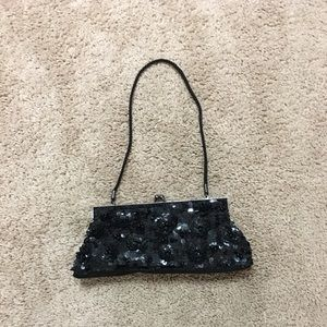 Handbags - Beaded, sequined black evening bag clutch